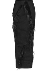 Rick Owens Fringed Goat Hair And Leather Maxi Skirt Black