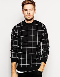 Selected Check Turtle Neck Jumper Black