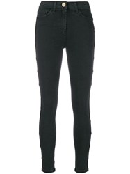 Elisabetta Franchi Side Band Skinny Jeans Black