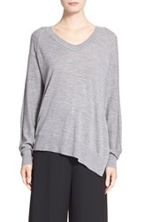 Women's Alexander Wang Asymmetrical Merino Wool V Neck Sweater Grey Melange