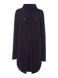 Sarah Pacini Funnel Neck Long Cardigan Purple