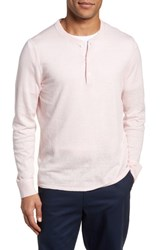 Nordstrom Men's Shop Long Sleeve Cotton And Linen Blend Henley Pink Breath Heather