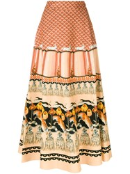 Temperley London Foxglove Printed Midi Skirt Women Cotton Viscose 12