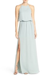 Women's Show Me Your Mumu 'Heather' Halter Gown Silver Sage Crisp