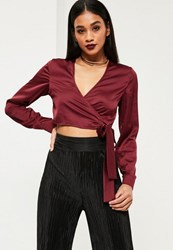 Missguided Burgundy Long Sleeve Satin Wrap Front Crop Top