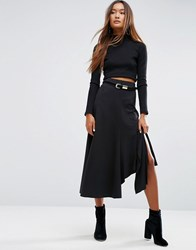Asos Midi Skirt In Deconstructed Jersey Black