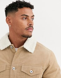 Bershka Borg Lined Cord Trucker Jacket In Beige