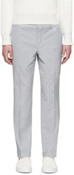 Carven White And Blue Searsucker Trousers