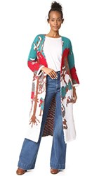 Stella Jean Intarsia Long Cardigan Coat Multi