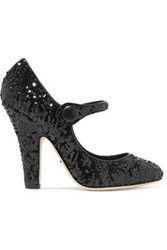 Dolce And Gabbana Sequined Leather Pumps Black