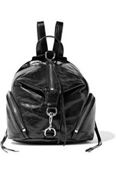 Rebecca Minkoff Woman Julian Convertible Cracked Glossed Leather Backpack Black