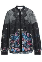Zuhair Murad Lace Point D'esprit And Printed Georgette Blouse Black