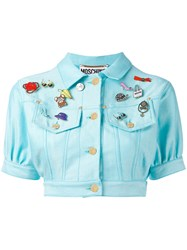 Moschino Vintage Cropped Denim Badge Jacket Women Cotton Polyester Other Fibers 38 Blue