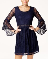 Amy Byer Bcx Juniors' Bell Sleeve Lace Dress Navy
