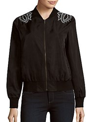 Minkpink Valley Of The V Foliage Embroidered Zipper Jacket Black