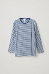 Cos Striped Organic Cotton Top Blue
