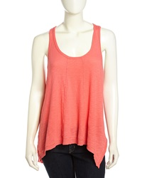 W By Wilt Paneled Slouchy Handkerchief Tank Neon Shrimp