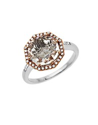 Lord And Taylor White Quartz Diamond Ring In Sterling Silver With 14K Rose Gold Rose Gold Silver