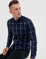 Farah Steen Slim Fit Check Shirt In Navy