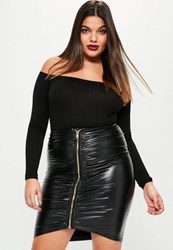 Missguided Plus Size Black Faux Leather Ruched Zip Front Skirt