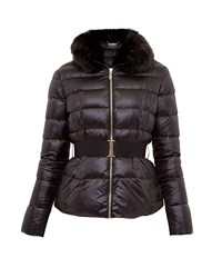 Ted Baker Junnie Faux Fur Collar Quilted Jacket Black