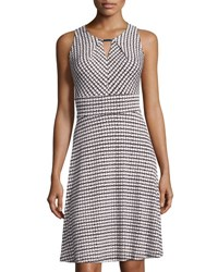 Chetta B Heart Print Keyhole Dress Black White