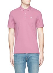 Isaia Coral Logo Embroidered Polo Shirt Pink
