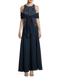 J Kara Beaded Gown And Scarf Navy