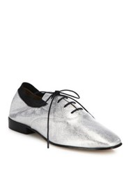 Tory Burch Bombe Leather Oxfords Silver