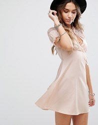 Kiss The Sky Tea Dress With Eyelash Lace Trim Nude Pink