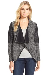Love Token Faux Leather Trim Tweed Drape Front Jacket Grey