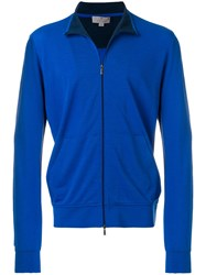 Canali Front Zipped Cardigan Blue