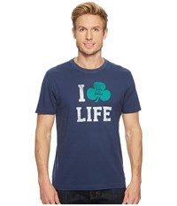 Life Is Good I Shamrock Crusher Tee Darkest Blue T Shirt