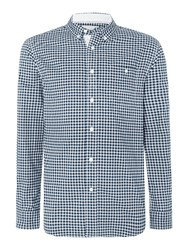 Canterbury Of New Zealand Gingham Long Sleeve Button Down Shirt Denim