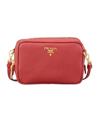 Prada Saffiano Mini Zip Crossbody Bag Red Fuoco
