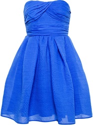 Carven Ribbed Organza Dress Blue