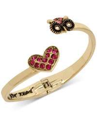 Betsey Johnson Gold Tone Pink Pave Heart And Owl Hinged Open Bangle Bracelet