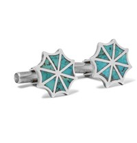 Foundwell 1990S Silver Turquoise Cufflinks Silver