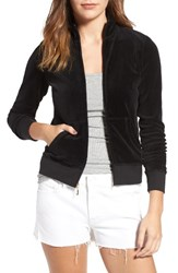 Juicy Couture Women's Fairfax Velour Track Jacket Pitch Black