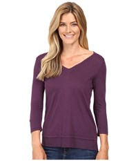 Mod O Doc Supreme Jersey V Neck Tee W Woven Trim Aubergine Women's T Shirt Purple