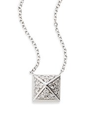 Kc Designs Diamond And 14K White Gold Pyramid Stud Pendant Necklace