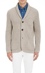 Brunello Cucinelli Men's Shawl Collar Sweater Jacket Tan