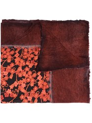 Avant Toi Floral Print Dyed Scarf Red