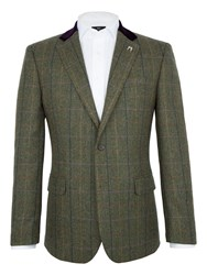 Paul Costelloe Men's Rupert Herringbone Check Blazer Green