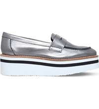Carvela Laugh Leather Flatform Loafers Gunmetal