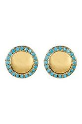 Nordstrom Rack Pave Cz Halo Disc Stud Earrings Blue