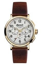Ingersoll Watches Men's St. John Chronograph Leather Strap Watch 44Mm Brown White Gold