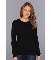 Pendleton Washable Silk Blend Jewel Neck Pullover Black Women's Long Sleeve Pullover