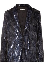 Alice Olivia Jace Oversized Sequined Satin Blazer Navy