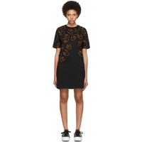 Mcq By Alexander Mcqueen Black And Orange Embroidered Swallow Signature T Shirt Dress